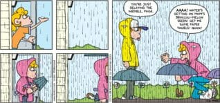 """FoxTrot by Bill Amend - """"Who'll Stop the Rain?"""" published April 20, 2014 - Peter: You're just delaying the inedible, Paige. Paige: AAAA! Water's getting on mom's broccoli-melon seeds! Get me some paper towels! Quick!"""