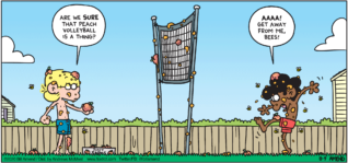 "FoxTrot comic strip by Bill Amend - ""Peachy"" published August 9, 2020 - Jason: Are we sure that peach volleyball is a thing? Marcus: AAAA! Get away from me, bees!"